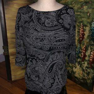 NY & CO Black and White Paisley Blouse